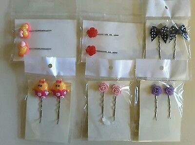 Wholesale joblot hair accessories 6 pairs hair slides, grips brand new (pack C)
