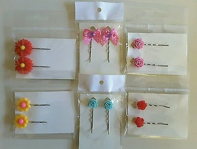 Wholesale joblot hair accessories 6 pairs hair slides, grips brand new (pack E)