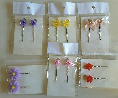 Wholesale joblot hair accessories 6 pairs hair slides, grips brand new (pack F)
