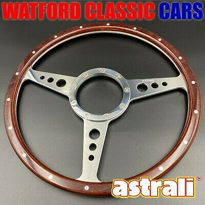 """Astrali® Classic Wood 15"""" steering wheel compatible with Moto-lita Boss ."""