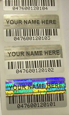 100 Custom Print BARCODE Security Hologram Tamper Evident Label Stickers Seals