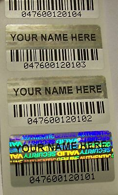 1000 Custom Print BARCODE Security Hologram Tamper Evident Label Stickers Seals