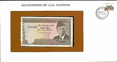 """Pakistan ~ 1984 ~ 5 Rupee Note ~ Cu ~ """"banknotes Of All Nations"""""""