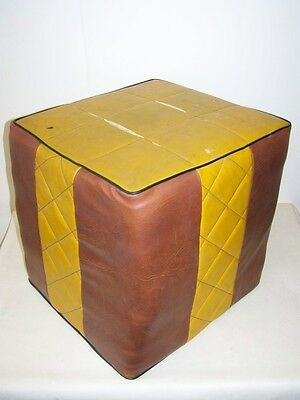 Old DDR Cushion, Vintage Design Leatherette Stool 1960s 70s Space Age