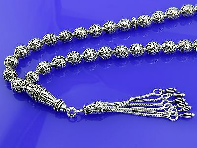 925 sterling silver 33 Islamic Prayer Beads Misbaha Tasbih ottaman 501015