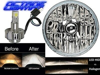 "7"" Crystal H4 Headlight CREE SMD 360° LED Light Bulb Headlamp Harley Motorcycle"