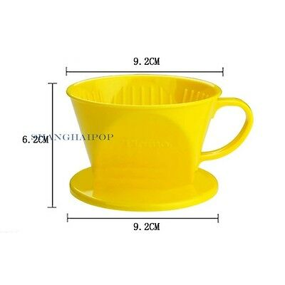 1 X Coffee Filter Cone Drip Cup Resin Maker Dripper With Handle 101 Yellow/Green