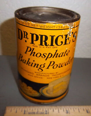 vintage Dr Prices Phosphate Baking Powder full Tin, great colors & graphics