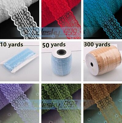 10/50/300Yards 1.8'' Width Bilateral Trim Embroidered Lace Ribbon Sewing Fabric