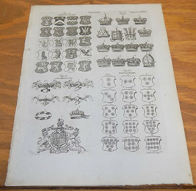 1797 Antique Print // HERALDRY // ORNAMENTS, DISPOSITIONS, CROWNS, CHIMERICAL