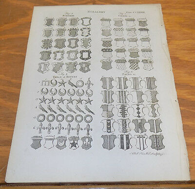 1797 Antique Print  //  HERALDRY  //  BORDURES, CHIEFS, PALES, TABLE OF HOUSES