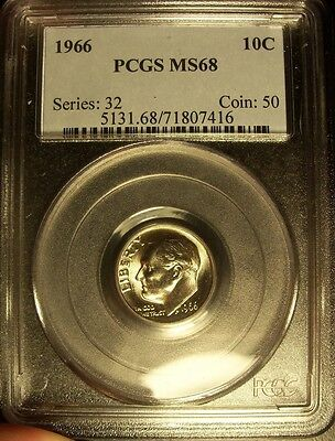 1966 pcgs ms68 Roosevelt Dime pop 6 almost full bands super nice