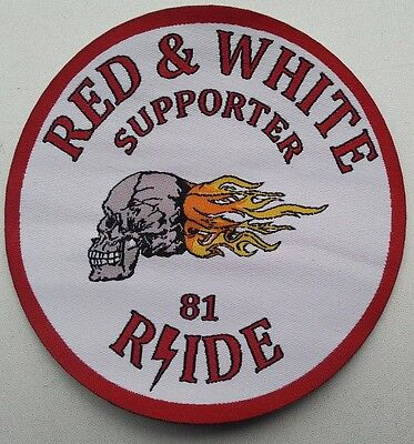 Woven Patch RED & WHITE SUPPORTER 81 RIDE Motorcycle Angels Hells Nomads Iron On