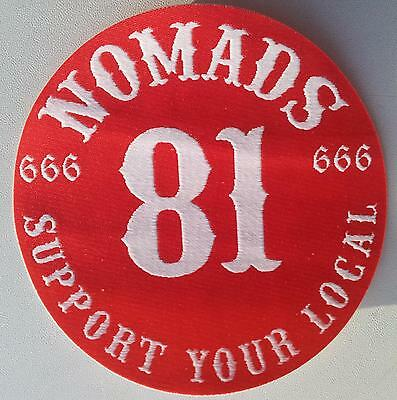 MC Woven Patch NOMADS 666 SUPPORT YOUR LOCAL 81  Angels Hells Riders Sew / Iron