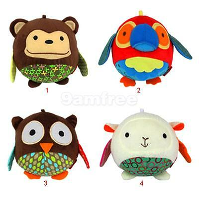 Cute Soft Plush Animal Pattern Hand Bell Rattle Educational Kids Toy Xmas Gifts