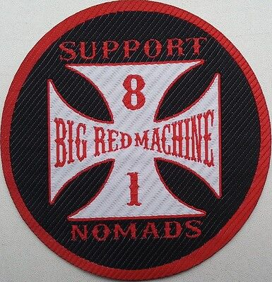 Woven Patch SUPPORT 81 NOMADS BIG RED MACHINE Outlaw Angels Hells Bikers Iron On
