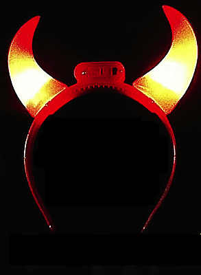 Light Up Bright Red FLASHING LED Devil Horns - PERFECT for Halloween!