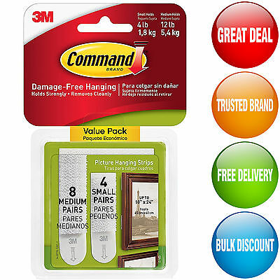 12 Sets 3M Command Strips Medium/Small Picture Frame Canvas Hanging Damage free