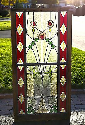Antique Art Nouveau Victorian Stained / Leaded Glass Window from Early 1900's