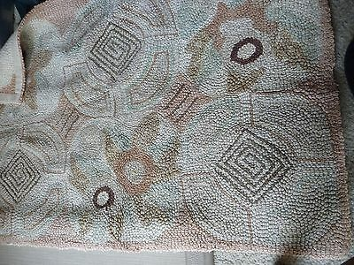 #1028 vtg Art Deco Retro Abstract Beige  HOOKED RUG  35'' l x  23 1/2'' w