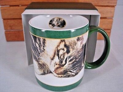 Mug LANG Striped Tabby Cat Sleeping 10 oz Green in Gift Box Artist Sueellen Ross