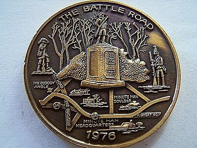 1976 Alhambra THE BATTLE ROAD Antique Bronze High Relief Mardi Gras Doubloon