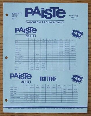 Paiste 3000 1986 Price List FREE SHIPPING!!