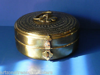 Antique Brass Hinged Lidded Round Soap Box for the Hamman (Turkish Bath)