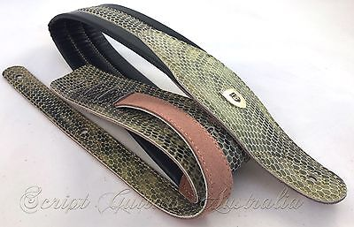 Genuine Leather Soft Padded THE REPTILIAN Guitar Strap Electric, Acoustic, Bass