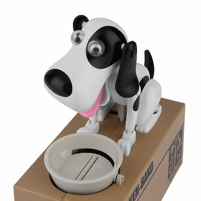 Robotic Hungry Dog Puppy Bank Coin Eating Save Saving Canine Money Box UK Gift