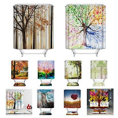 Tree Plant Views Bathroom Waterproof Polyester Shower Curtain and Bath Mat Set