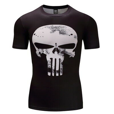 New Compression Men's Running T-shirt Sports Gym Fitness 3D Print Trainning Tops