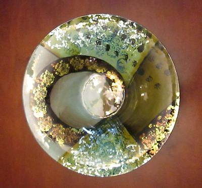 Beautiful Decorative Glass Abstract Bowl With Silver & Copper Shimmer - New!