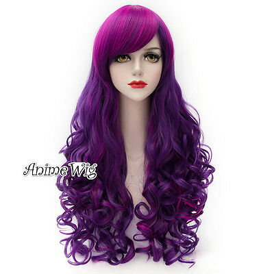 Lolita Mixed Purple Long 80CM Curly Fashion Party Cosplay Wig + Wig Cap