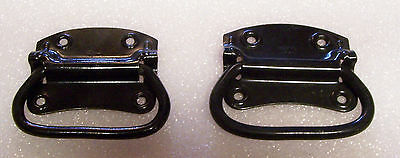 Vtg Pair of Stanley Black Metal Tool Chest Trunk Handles, Folding Drop Box Pulls