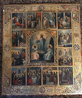 Immaculate Antique Russian Icon | Old Orthodox Gold Wood Painting Fine Folk Art