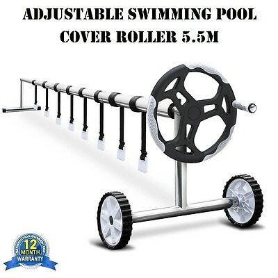 Adjustable Swimming Pool Cover Roller Sollar Bubble Blanket Reel Wheels 5.5M