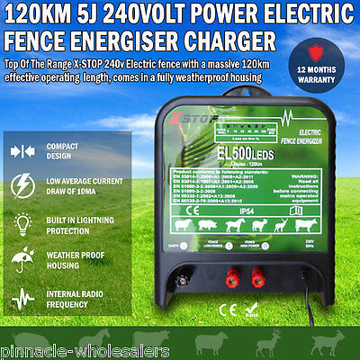 NEW 120km 5J 240volt Power Electric Fence Energiser Charger Poly Wire Tape Posts