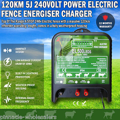 NEW120km 5J 240volt Power Electric Fence Energiser Charger Poly Wire Tape Posts