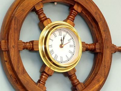 """Nautical Deluxe Class Wood And Brass Ship Wheel Clock 18"""""""