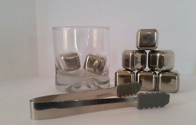 8pcs Stainless Steel Ice Cubes Set with Tongs Whiskey Rocks Stocking Stuffer