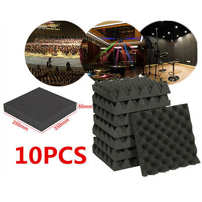 10x Acoustic Foam Egg Panels Tiles Studio Sound Proofing Treatment Absorption