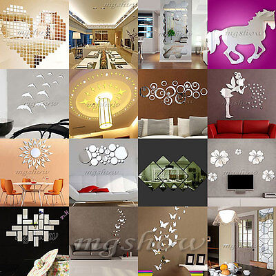 3D Acrylic Mirror DIY Wall Home Decal Mural Decor Vinyl Art Stickers Gift New