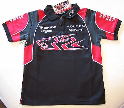 Holden Racing Team HRT Boys Black Red Grey Embroidered Polo Shirt Size 12 New