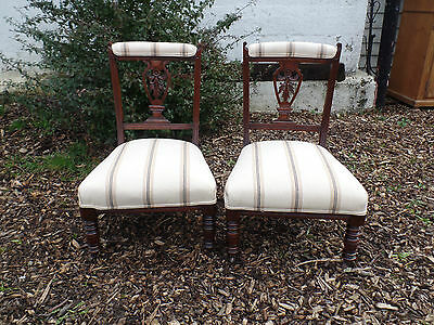 A Pair of Early 1900's Mahogany Framed Nursing Chairs