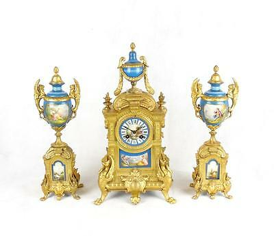 19th Century French Gilt Metal and Porcelain Mounted Clock Garniture