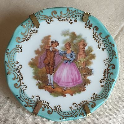 Vintage Minature Limoges Plate: Courting Couple