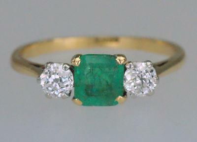 Vintage Emerald & 0.5ct Old Cut Diamond 18ct Gold Art Deco 1930's Antique Ring