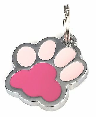 Personalised Engraved Pink Enamel Paw Print Dog/Cat Pet ID Tag