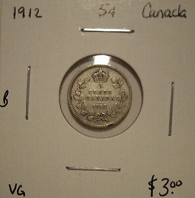 B Canada George V 1912 Silver Five Cents - VG